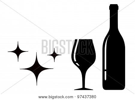 bottle and glass black silhouette