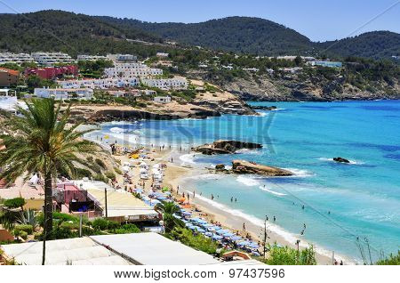 SANT JOSEP, SPAIN - JUNE 15: Panoramic view of Cala Tarida beach on June 15, 2015 in Sant Josep de Sa Talaia, in Ibiza Island, Spain. Ibiza is a well-known summer tourist destination in Europe