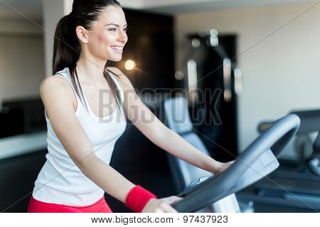Beautiful, Young Lady Riding The Bicycle In A Gym