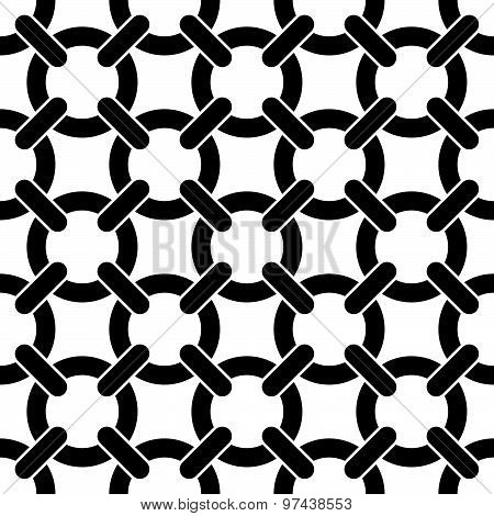 Round shapes lattice seamless pattern, black and white vector background.