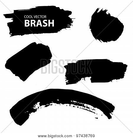 Aquarell, Ink splash. Black and white vector collection brush
