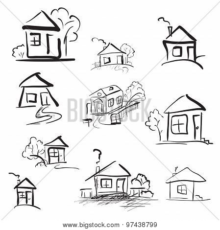 Doodle Hand Drawn Houses. Pencil Vector Sketch
