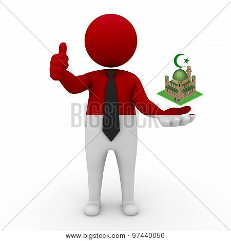 3d businessman people Indonesia - Muslim mosque and Islam in Indonesia