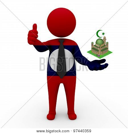 3d businessman people Laos - Muslim mosque and Islam in Laos