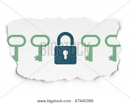 Privacy concept: closed padlock icon on Torn Paper background