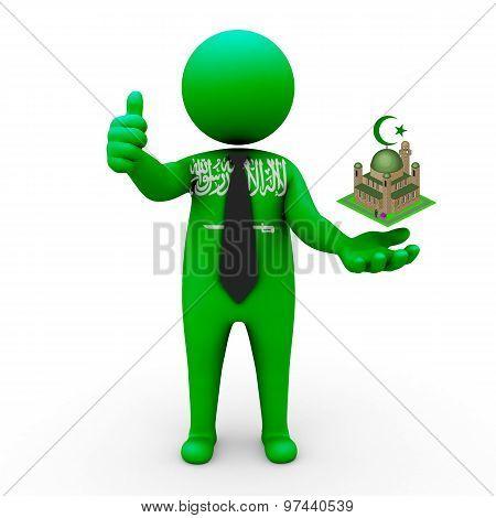 3d businessman people Saudi Arabia - Muslim mosque and Islam in Saudi Arabia