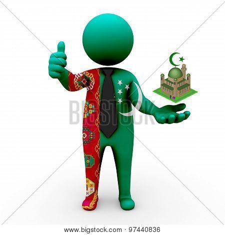 3d businessman people Turkmenistan - Muslim mosque and Islam in Turkmenistan