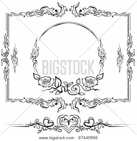 Black and white floral pattern. Cartouche for titles