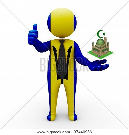 3d businessman people Barbados - Muslim mosque and Islam in Barbados