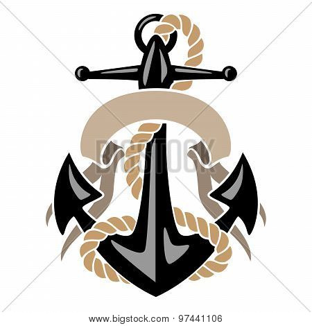 Anchor with Rope and Banner