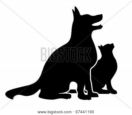 Dog and Cat Silhouette
