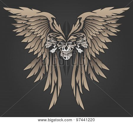 Wings with Three Skulls Illustration