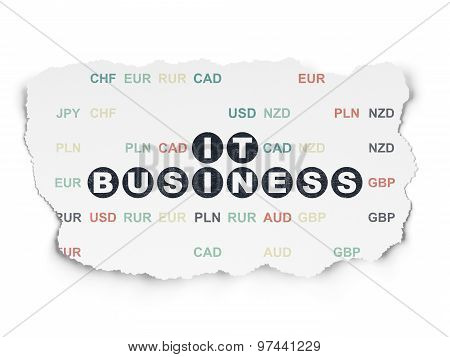 Business concept: IT Business on Torn Paper background