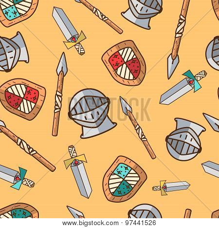 Seamless Pattern With Armor.