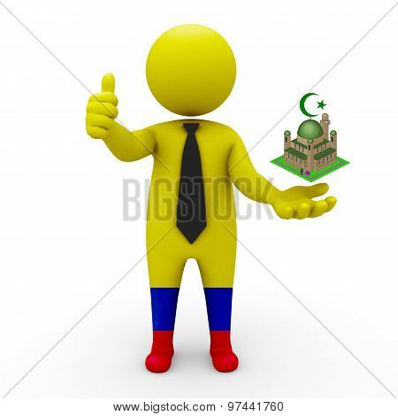 3d businessman people Colombia - Muslim mosque and Islam in Colombia
