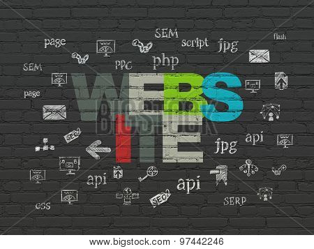 Web development concept: Website on wall background