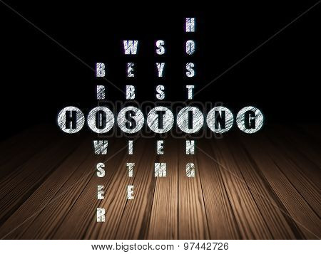 Web design concept: word Hosting in solving Crossword Puzzle