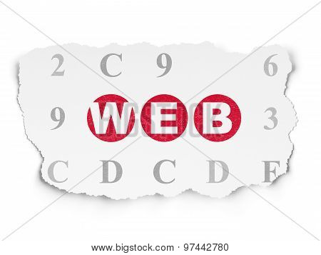 Web development concept: Web on Torn Paper background