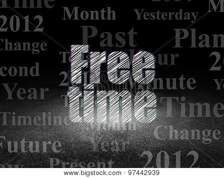 Timeline concept: Free Time in grunge dark room