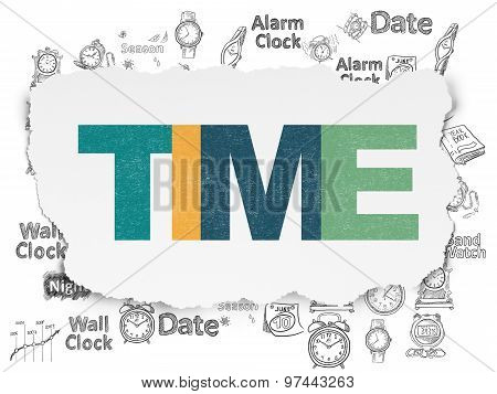 Time concept: Time on Torn Paper background