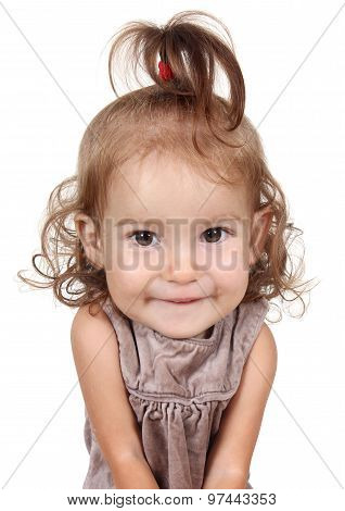 Portrait Of Funny Big Head Child Girl On White