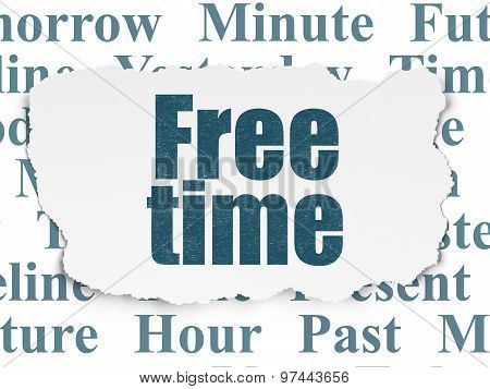 Timeline concept: Free Time on Torn Paper background
