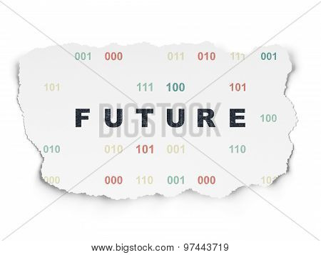 Timeline concept: Future on Torn Paper background