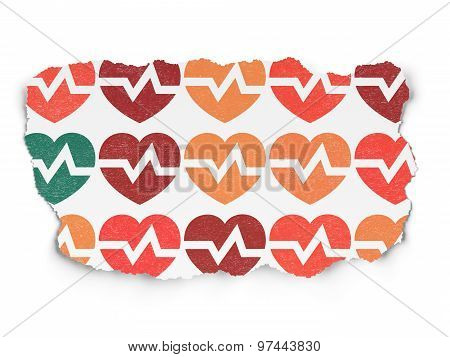 Health concept: Heart icons on Torn Paper background