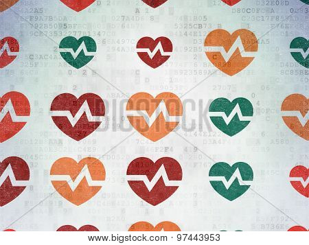 Health concept: Heart icons on Digital Paper background
