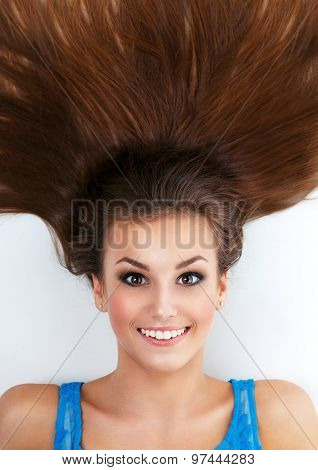 Funny Beautiful Woman With Brown Long Hair