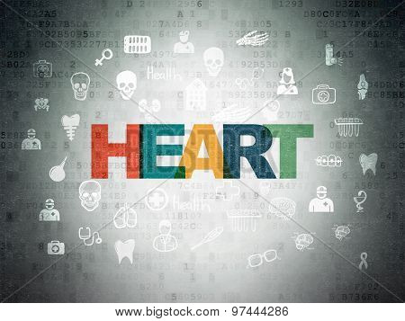 Healthcare concept: Heart on Digital Paper background