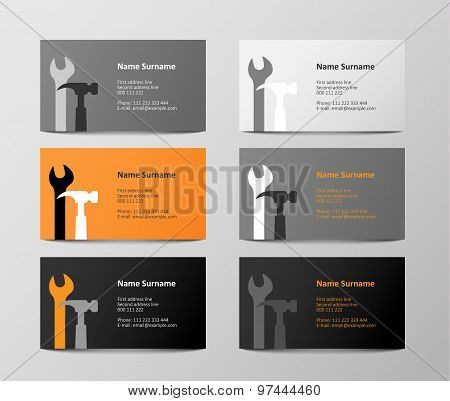 set of colorful business cards, illustration