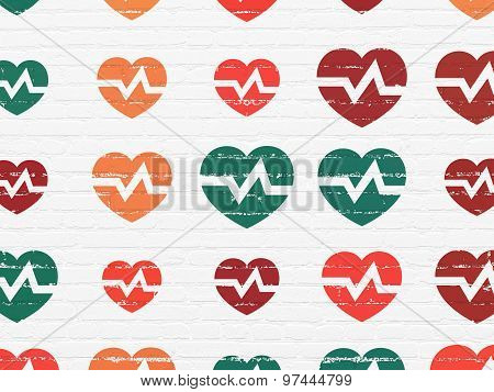 Medicine concept: Heart icons on wall background