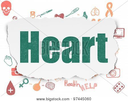 Healthcare concept: Heart on Torn Paper background