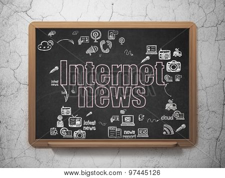 News concept: Internet News on School Board background