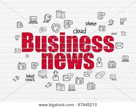 News concept: Business News on wall background