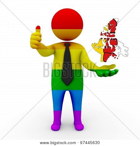 3d businessman people LGBT - with a map of the flag of Nunavut (territory)