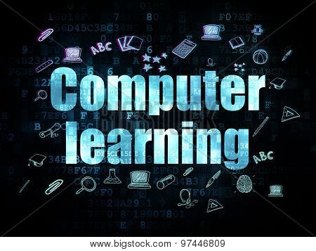 Learning concept: Computer Learning on Digital background