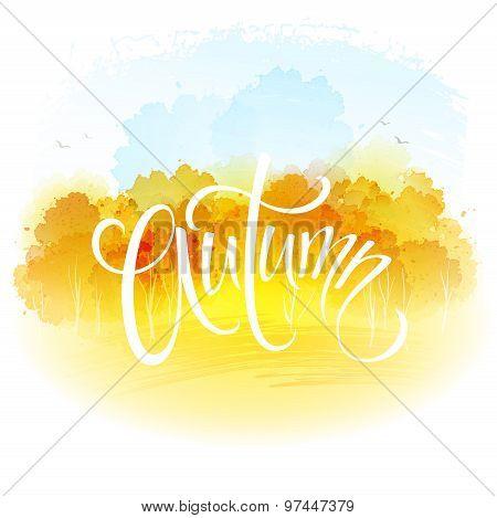 Watercolor autumn landscape. Vector illustration