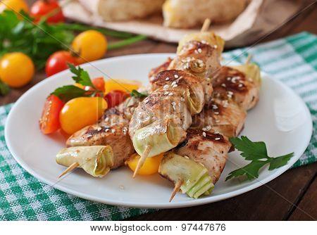 Chicken shish kebab with zucchini