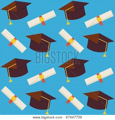 Flat Vector Seamless Pattern Graduate From School Hat And Diploma