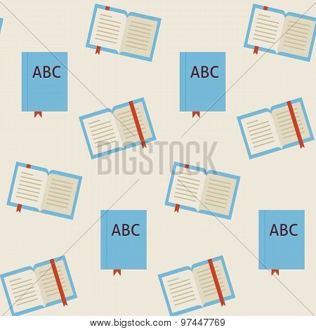 Flat Vector Seamless Pattern School And Library Reading Book