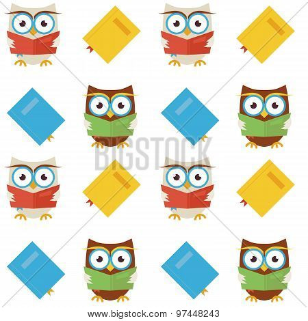 Flat Vector Seamless Pattern Wisdom And Knowledge Owls Reading Books