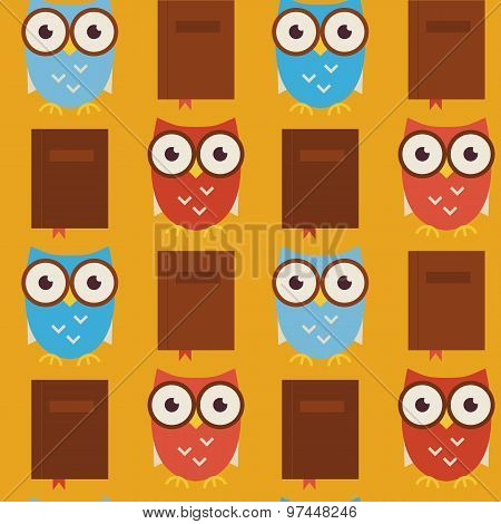 Flat Vector Seamless Pattern Wisdom And Knowledge Owls With Books