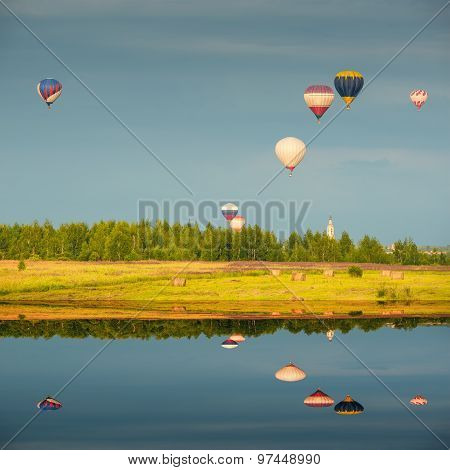 Evening Flight Of The Hot Air Balloons.