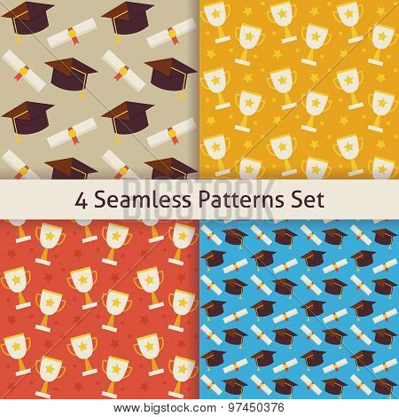Four Vector Flat Seamless School Graduation And Winning Competition Trophy Patterns Set