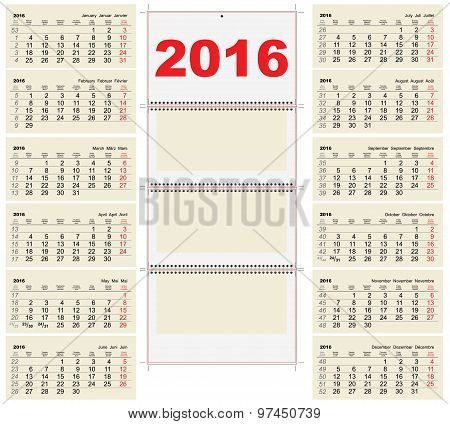 Template wall quarterly Calendar for 2016