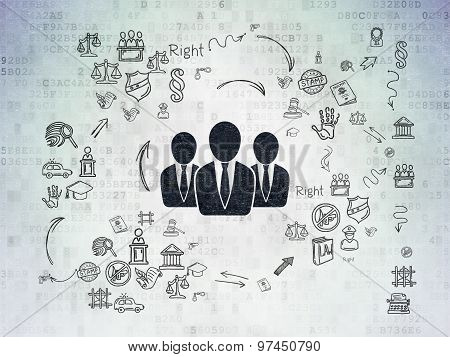 Law concept: Business People on Digital Paper background