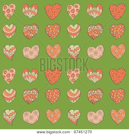 hand drawn colorful valentines hearts seamless pattern