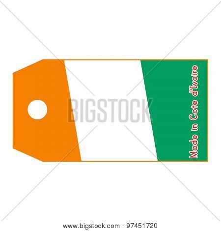 Vector Illustration Of Cote D'ivoire Flag On Price Tag With Word Made In Cote D'ivoire Isolated On W